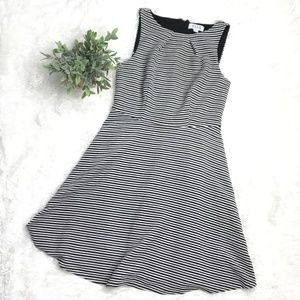 ELLE Fit & Flare Black White Striped Dress Small